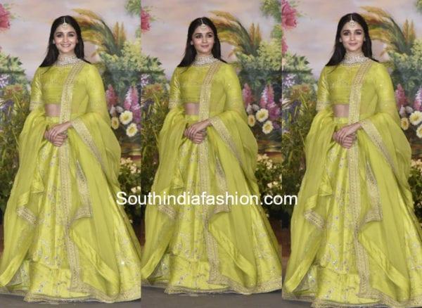 alia bhatt in green sabyasachi lehenga at sonam kapoor wedding reception