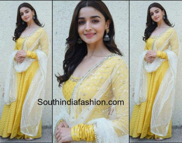 alia bhatt in yellow anarkali dress for did lil masters show raazi promotions