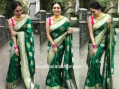 amruta khanvilkar green banarasi silk saree