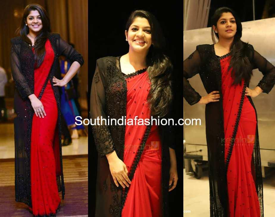 aparna balamurali red saree with black jacket