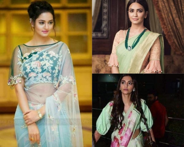 actresses wearing large sleeves blouse