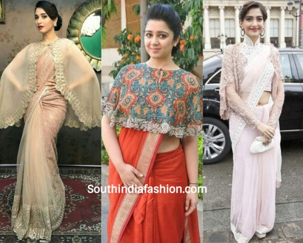 actresses wearing cape blouse