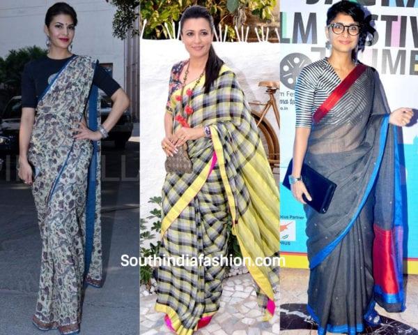 actresses wearing cotton sarees