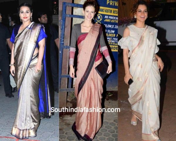 actresses wearing handloom saree