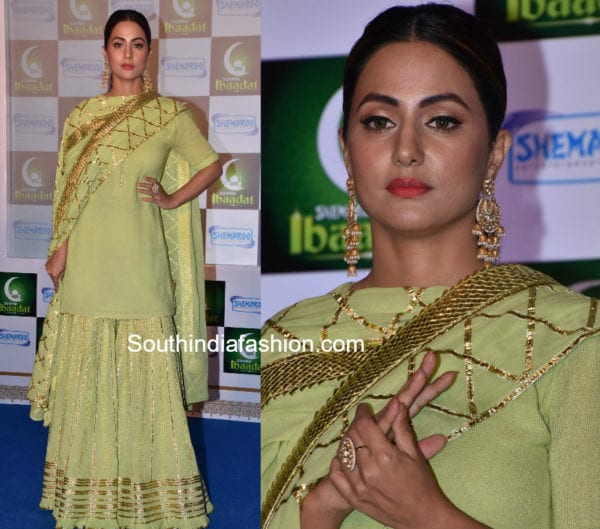 hina khan green sharara