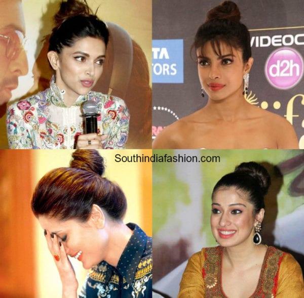 indian actress top knot bun