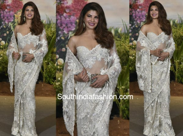 jacqueline-fernandez-white-saree-sonam-kapoor-wedding-reception-600x446