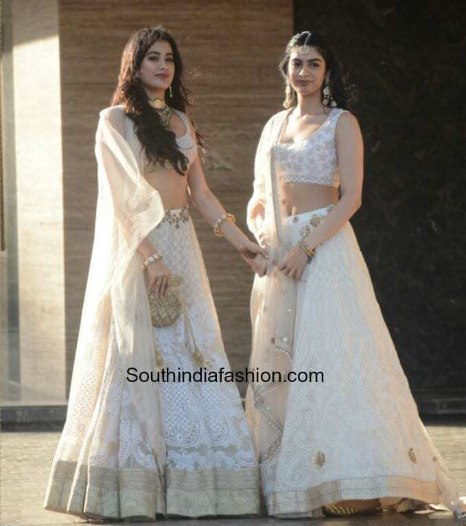 f304184772 jhanvi kapoor and khushi kapoor in white lehengas at sonam kapoor sangeet  function