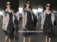 karisma kapoor airport black dress denim jacket