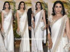 karisma kapoor in white saree at sonam kapoor wedding reception