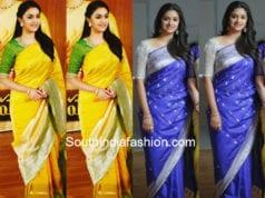 keerthy suresh in banarasi silk sarees for mahanati promotions