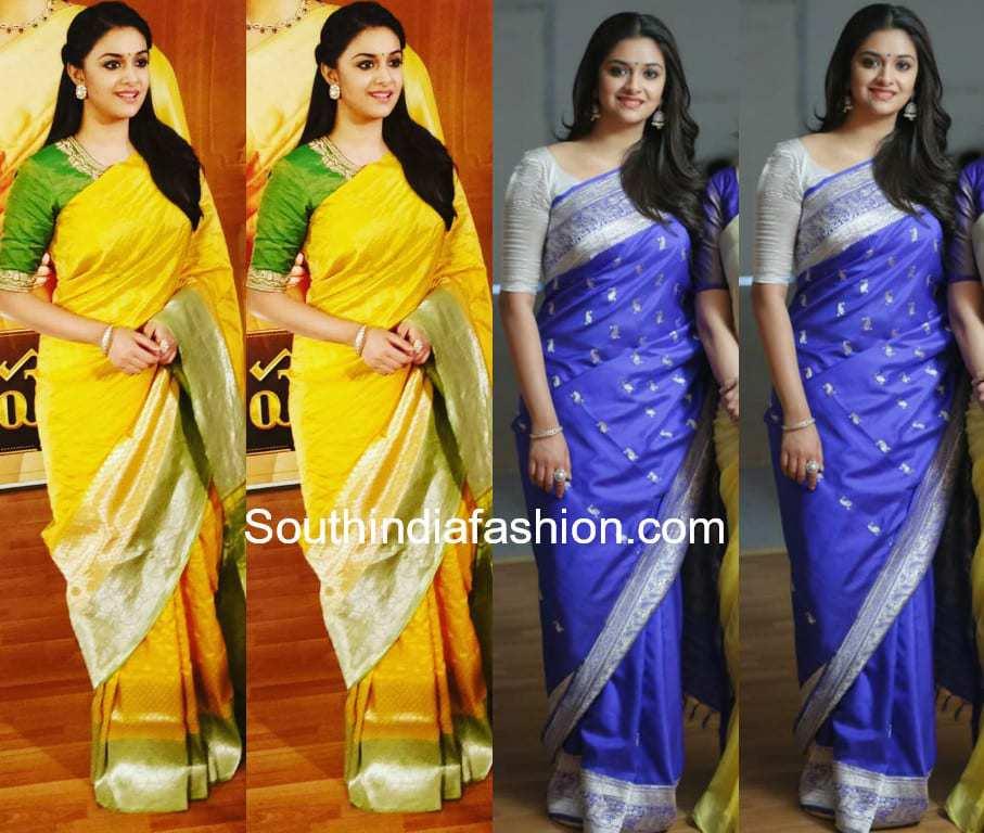 80473fce95b937 Keerthy Suresh in Banarasi silk sarees for Mahanati promotions