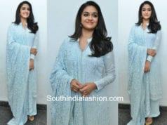 keerthy suresh blue chikankari palazzo suit mahanati promotions