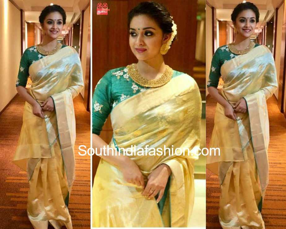 keerthy suresh cream saree green blouse asianet awards