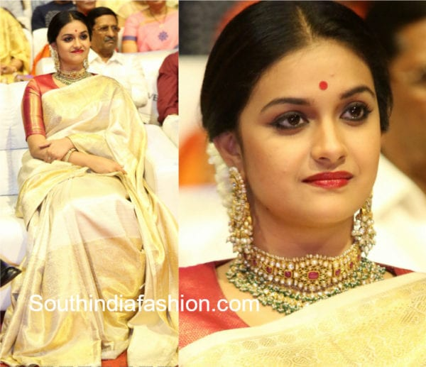 keerthy suresh in gaurang shah kanjeevaram saree at mahanati audio launch