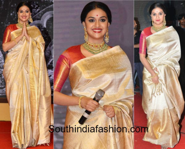 keerthy suresh in cream pattu saree at mahanati audio launch