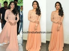 keerthy suresh peach long gown mahanati success meet