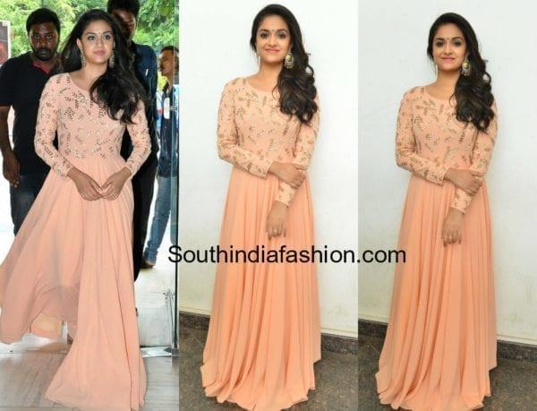 keerthy suresh peach long gown mahanati success meet