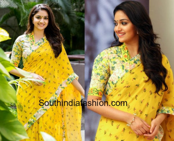 keerthy suresh in yellow saree for mahanati promotions