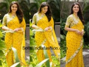 keerthy suresh in yellow saree for mahanati promotions
