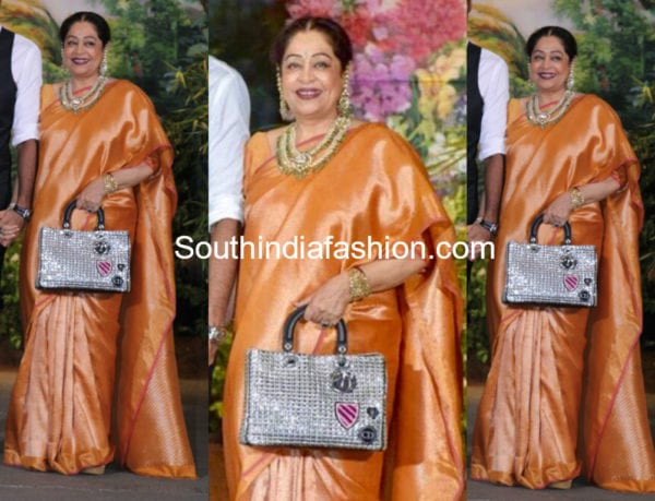 kirron kher silk saree at sonma kapoor wedding reception