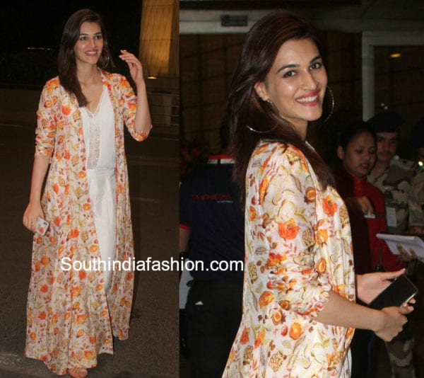 kriti sanon long floral cape jacket