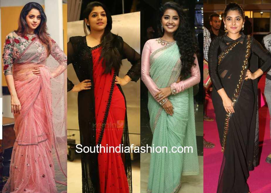 malayalee actress fashion sarees
