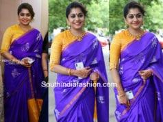 meera nandan purple saree yellow blouse at sreejith ravi wedding