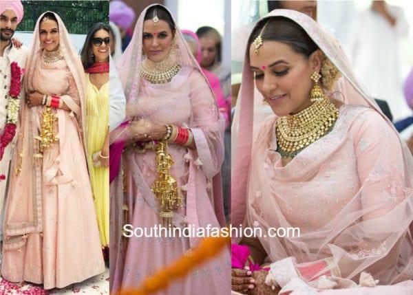 neha dhupia wedding lehenga