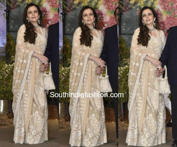 nita ambani white saree at sonam kapoor wedding reception