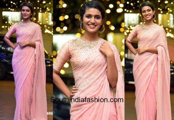 priya prakash pink saree at wedding reception