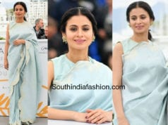 raika dugal blue saree raw mango cannes 2018