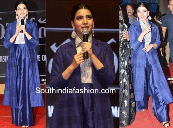 samantha akkineni blue dress payal khandwala mahanati audio launch
