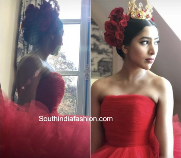 shriya bhupal pre wedding red gown
