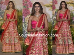 shweta bachchan in pink lehenga at sonam kapoor wedding reception