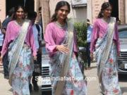 sonam kapoor in neeru's blue floral saree veere di wedding promotions