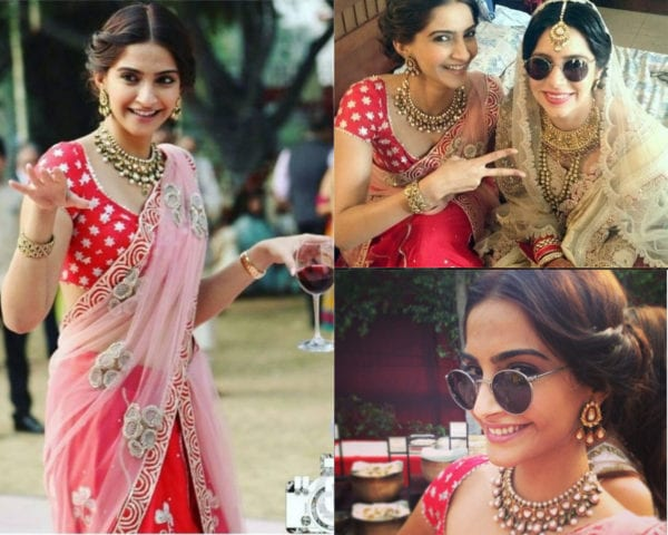 sonam kapoor red lehenga friends wedding