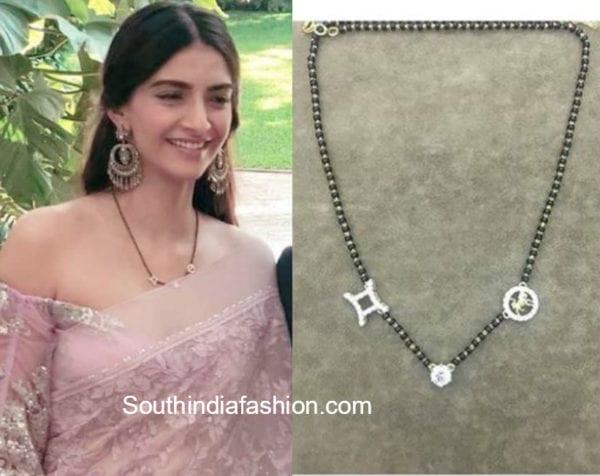 sonam kapoor black beads mangalsutra chain