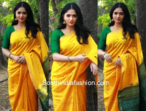 sunaina yellow saree at kaali press meet