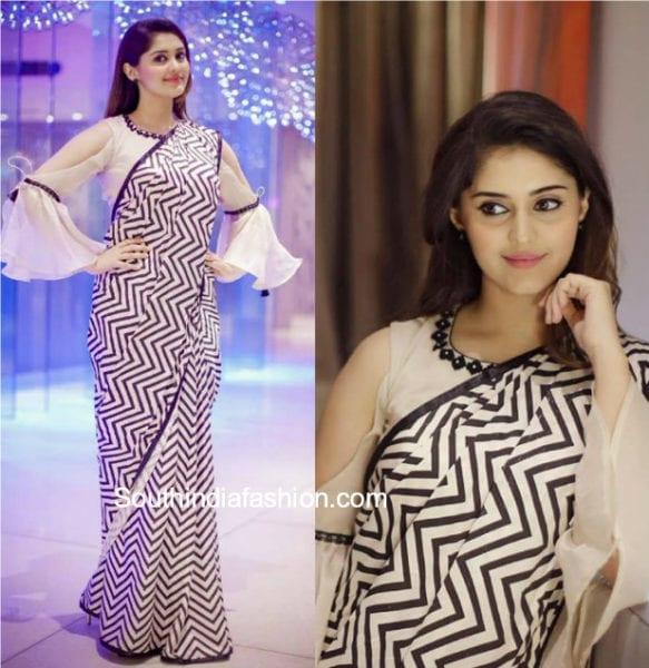 actress surbhi black and white saree memu saitham