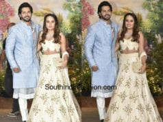 varun dhawan with girlfriend natasha dalal at sonam kapoor wedding reception