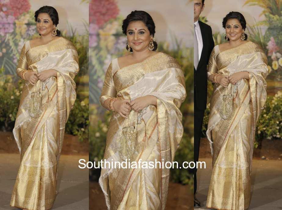 Vidya Balan Gaurang Kanjeevaram Saree At Sonam Kapoor Wedding Reception