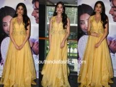 Janhvi Kapoor in yellow anarkali by anushree reddy at dhadak song launch