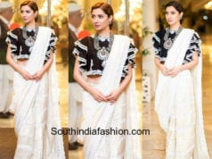 mahira khan white saree black ruffle blouse