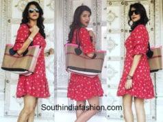 lakshmi manchu red short dress