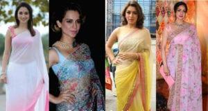 celebrities in chiffon sarees