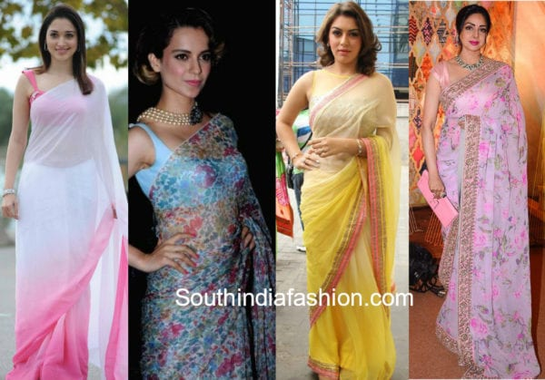 celebrities in chiffon sarees