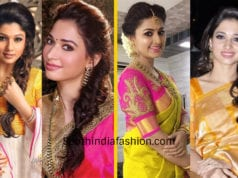 actresses hairstyle for silk saree