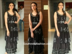 aditi rao hydari black dress sammohanam promotions