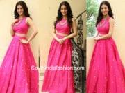 amyra dastur pink long skirt crop top